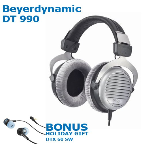 Beyerdynamic Dt 990 Premium 32 Ohm Headphones + Bonus Holiday Gift Beyer Dynamic Dtx 60 Sw Premium In Ear Buds (Black) (Retails For $49.95)