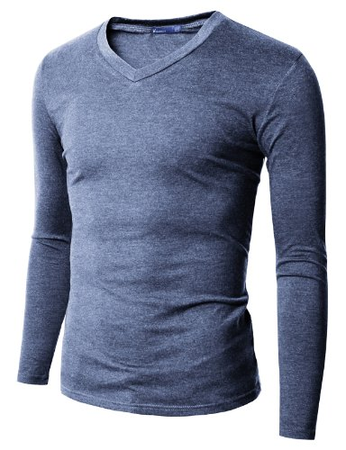 Doublju Long Sleeve Soild Cotton V Neck For Men Darkblue (Us-2Xl)