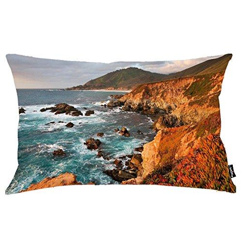 i FaMuRay Dark Rocks In The Foamy Ocean By The Rusty Rocky ShoreFedera Cuscino, 20x36 inches