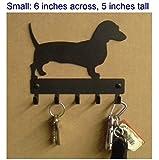 Dachshund Dog Leash Hanger/ Key Rack - Small 6 inch wide - Artisan Metal Shop Gifts & Awards