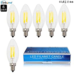 ELINKUME 6 Packs 450LM E12 Base COB LED Lamp Filament Glass Housing Bulb 4W Light Retro Tungsten Candle Chandelier CE Certificate E12 4watts 110volts Replace 40W Traditional Halogen Lights