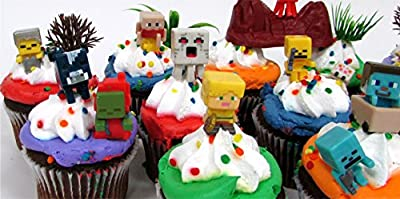 "MINECRAFT 24 Piece Birthday CUPCAKE Topper Set Featuring Mini Minecraft Figures and Decorative Themed Accessories, Figures Average 1/2"" to 1"" Inch Tall from Minecraft"