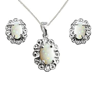 925 Sterling Silver Real Opal and Diamond Oval GIFT SET, Pendant, Earrings & Chain - October Birthstone