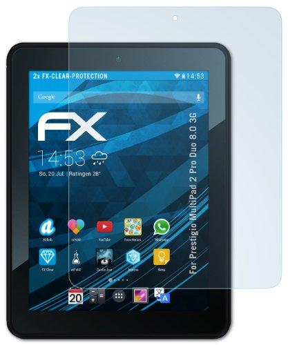 2 x atFoliX Prestigio MultiPad 2 Pro Duo 8.0 3G Displayschutzfolie - FX-Clear kristallklar