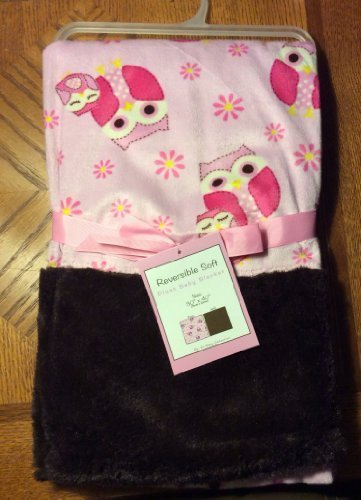 "Reversible Soft ""Owl Mama Pink"" Plush Baby Blanket - 1"