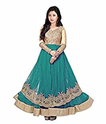 Be With Me Women's Net Salwar Suit- Dress Material (222 Green & Gold Round)