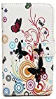 myLife White {Butterflies and Circles Design} Faux Leather (Card, Cash and ID Holder + Magnetic Closing) Slim Wallet for Galaxy Note 3 Smartphone by Samsung (External Textured Synthetic Leather with Magnetic Clip + Internal Secure Snap In Closure Hard Rubberized Bumper Holder)