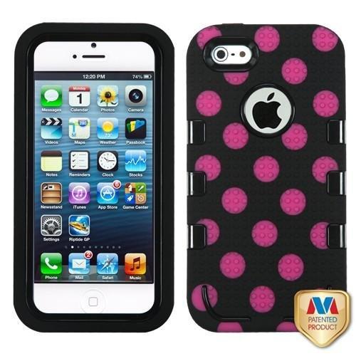 Black Pink Polka Dot Hard Soft Gel Dual Layer Cover For Apple Iphone 5 5S N74Nv