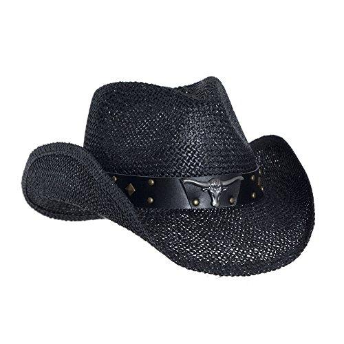 Black Straw Cowboy Hat for Men 23faf87333e