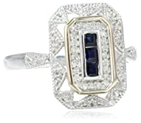 S&G Sterling Silver and 14k Yellow Gold, Blue Sapphire, and Diamond-Accent Art Deco-Style Ring (0.12 cttw, I-J Color, I3 Clarity) by Amazon Curated Collection