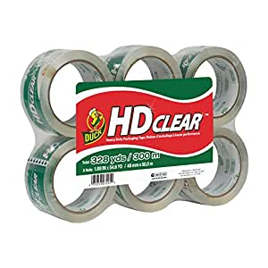 Duck Brand HD Clear High Performance Packaging Tape, 1.88-Inch x 54.6-Yard, Crystal Clear, 6-Pack (441962)