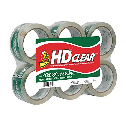 duck-brand-hd-clear-high-performance-packaging-tape-188-inch-x-546-yard-crystal-clear-6-pack-441962