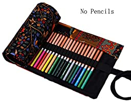 iSuperb® Colored Pencil Wrap Organizer Roll Pouch Canvas Multi-purpose Drawing Pencil Bag Holder for School Office 72 Holes (Happy Tree, 72 Holders)