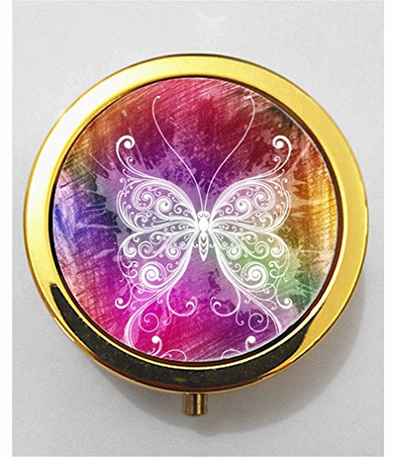 RainbowSky Animal swallowtail butterfly Mini Portable Pocket Purse Pill Box Case Pillbox, 3 Compartments, Gold, G99 (Animal Picture Holders compare prices)