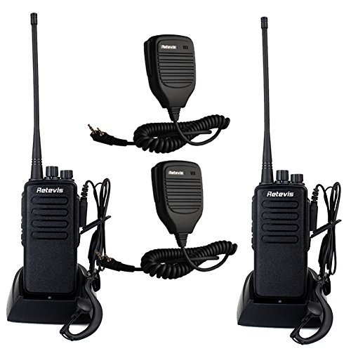 Retevis RT1 2 Way Radio 10W 70CM UHF 400-520 MHz 16CH VOX Scrambler Handheld Transceiver with Earpiece (2 Pack) and Speaker Mic (2 Pack)