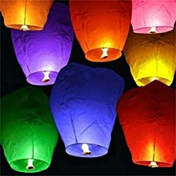 ELlight 50pcs Sky Fly Fire Wish Wishing Lanterns Multi Color Chinese Lanterns for Wedding Birthday Party Use