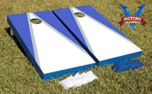 White & Royal Blue Custom Painted Cornhole Bag Toss Game Set by Victory Tailgate... by Victory Tailgate