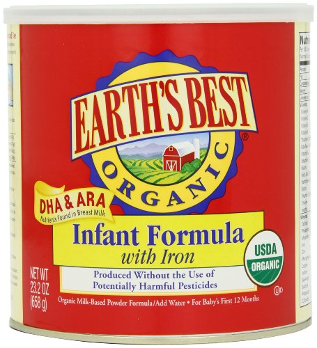 Earths Best Organic Infant Formula with Iron, DHA & ARA,  23.2  Ounce Canister