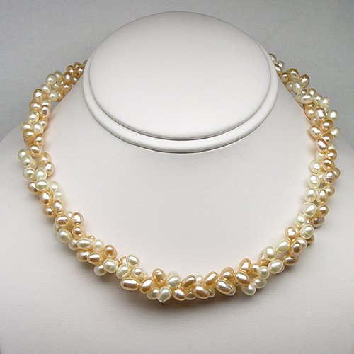 Freshwater Pearl Twisted Necklace, Peach and White Natural Color