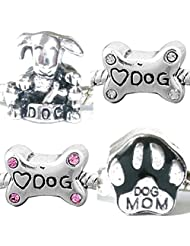 Charm Buddy Dog Lovers Set Of 4 Silver Plated Charms Beads Fits Pandora Charm Bracelets Jewellery