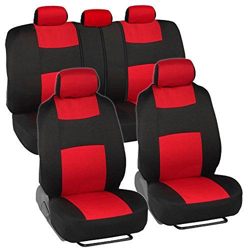 BDK Classics - Black & Red Mesh Cloth Seat Covers - Split Option Bench - Full Set
