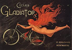 FRANCE BICYCLE CYCLES GLADIATOR FLYING BIKE WOMAN LARGE VINTAGE POSTER REPRO