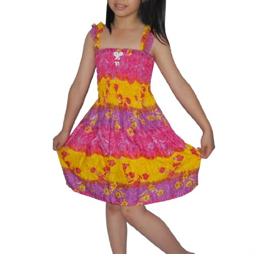 Girls Thai Exotic Gathered / Smocked Bodice Flowing Summer Tank Dress - Size: 8