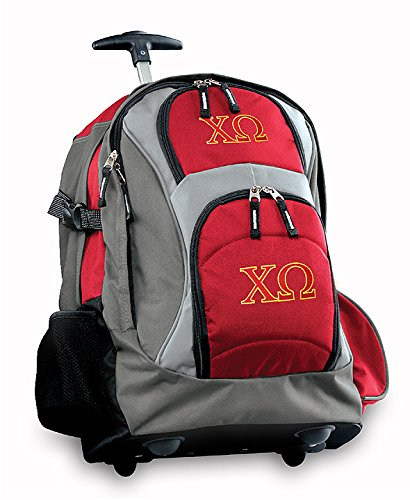 Chi O Rolling Backpack Deluxe Red Chi Omega Backpacks Bags With Wheels Or Schoo