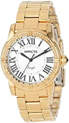Invicta Women's 14374 Angel Silver Dial Diamond-Accented 18k Gold Ion-Plated Stainless Steel Watch