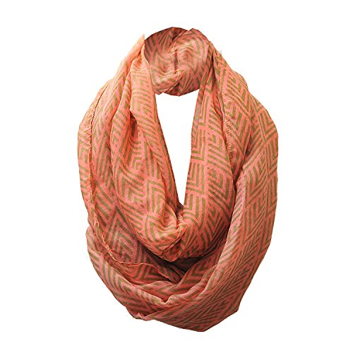 Chevron Pattern Infinity Scarf Coral Color