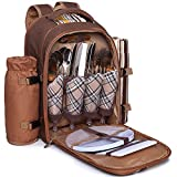 Search : Ferlin Picnic Backpack for 4 With Cooler Compartment, Detachable Bottle/Wine Holder, Fleece Blanket, Plates and Cutlery Set (Coffee)