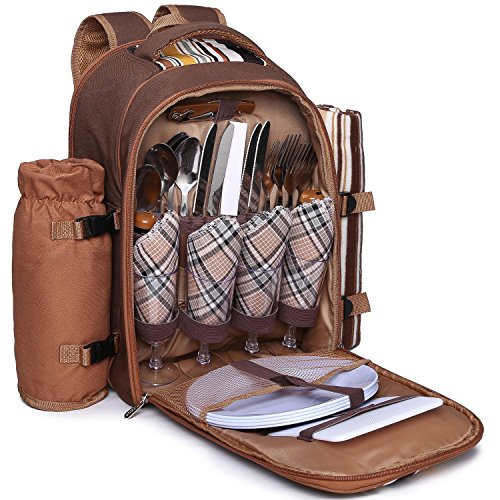 Find Discount Ferlin Picnic Backpack for 4 With Cooler Compartment, Detachable Bottle/Wine Holder, F...