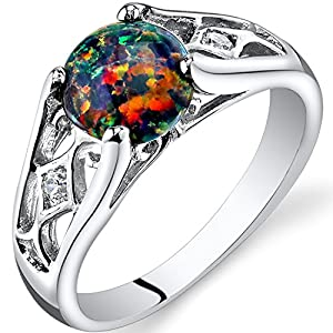 Created Black Opal Venetian Ring Sterling Silver 1.00 Carats Size 5