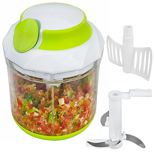 Brieftons QuickPull Food Chopper: Large 4-Cup Powerful Manual Hand Held Chopper / Mincer / Mixer / Blender to Chop Fruits, Vegetables, Nuts, Herbs, Onions for Salsa, Salad, Pesto, Coleslaw, Puree (Mixer Chopper compare prices)