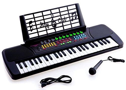 [해외]드 로사 어린이 49 키 전자 피아노 키보드 블랙/De Rosa Children 49 Keys Electronic Piano Music Keyboard Black