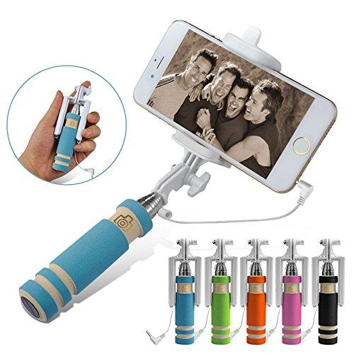 Finger's Super Mini Cable Control Wired Selfie Stick Portable Foldable Extendable Mini Monopod Pink