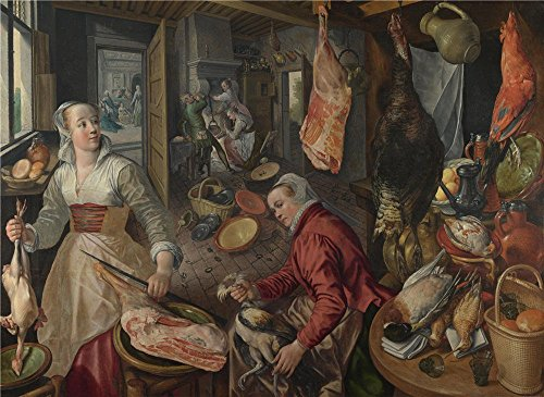 Perfect Effect Canvas ,the Amazing Art Decorative Prints On Canvas Of Oil Painting 'Joachim Beuckelaer The Four Elements Fire ', 8 X 11 Inch / 20 X 28 Cm Is Best For Powder Room Decoration And Home Decoration And Gifts