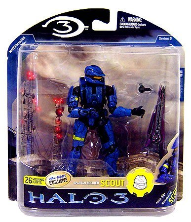 Halo 3 Mcfarlane Toys Series 3 Exclusive Action Figure Blue Spartan Soldier Scout - 1