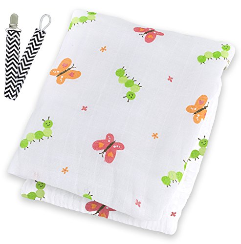 "Lulujo LJ037 Butterfly Garden Party Muslin Cotton Swaddling Blanket 47""x47"" with Pacifier Clip - 1"