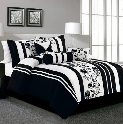 Cool  Piece King Rianna Black and White Bed in a Bag Set