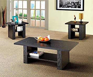 3PC Modern Coffee Table Set With One Coffee Table And Two End Tables In Rich Black Wood Finish. (Item# Vista Furniture CF700345)