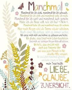Amazon.de: Poster Manchmal - mini Gedicht Liebe Glaube