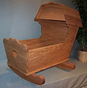"""Functional / Play Wooden Furniture - Live Baby Cradle - Pennsylvania Dutch Overhead Canopy Style - 13""""x 30"""""""