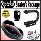 "Opteka Deluxe ""Skaters"" Package (Includes the OPT-SC37FE Platinum Series 0.3X HD Ultra Fisheye Lens, X-GRIP Camcorder Handle, & 3 Watt Video Light) for Sony DCR-SR37, SR38, SR40, SR42, SR45, SR46, SR47, SR48, SR50, SR52, SR57, SR60, SR62, SR65, SR67, SR68, SR70, SR72, SR77, SR80, SR82, SR85, SR87, SR88, SR90, SX83, TRV11, TRV15, TRV16, TRV17, TRV18, TR19, TRV22, TRV25, TRV27, TRV33, TRV38, TRV39, TRV6, HDR-CX100, CX110, CX150, CX300, CX350, CX360, CX370, HC3, PJ10, PJ30, PJ50, SR1, SR10, TD10, U"