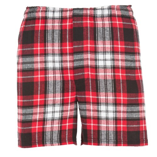 Boxercraft Herren Flanell-Boxer-Shorts / Boxer-Shorts (Large) (Rot/Schwarz)