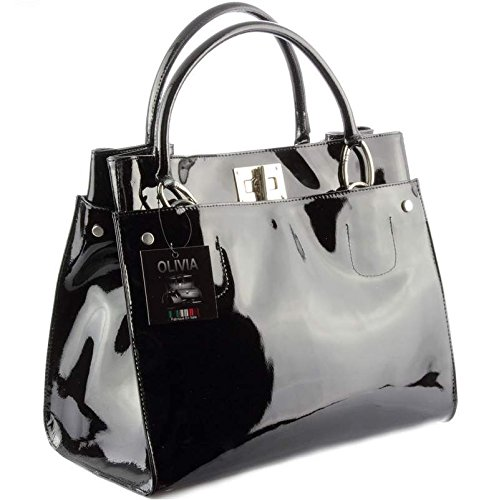 sac a main noir cuir vernis
