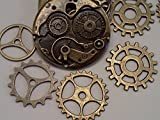 25pc-Steampunk-Gears-Charms-Antique-Bronze