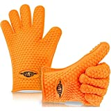 EVIES #1 Best Cooking Gloves BBQ Mitts - Heat Resistant Grilling Waterproof - Full Hand Grip, Silicone, Kitchen Product Ever, Insulated, Which Can Withstand Temperatures up to 425 Degrees - Two Orange Gloves Included