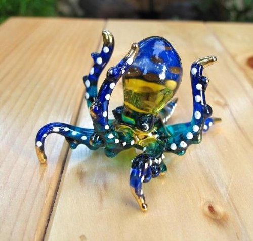 Handmade Octopus Art Glass Blown Sea Animal Figurine