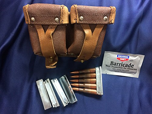 Genuine Military Surplus Mosin Nagant M38 M44 91/30 1891 91 30 7.62x54 Leather Cartridge Ammo Ammunition Rounds Dual Pouch + 5 Stripper Clips Free Birchwood Casey Takealong Wipe